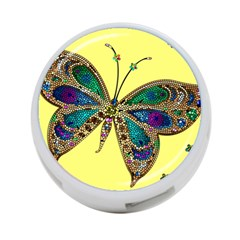 Butterfly Mosaic Yellow Colorful 4 Port Usb Hub (one Side)