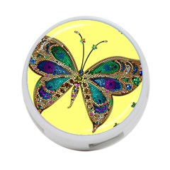 Butterfly Mosaic Yellow Colorful 4 Port Usb Hub (two Sides)