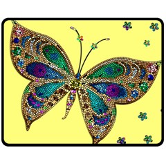 Butterfly Mosaic Yellow Colorful Fleece Blanket (medium)