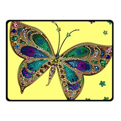 Butterfly Mosaic Yellow Colorful Fleece Blanket (small)