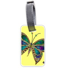 Butterfly Mosaic Yellow Colorful Luggage Tags (one Side)