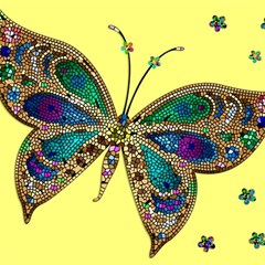 Butterfly Mosaic Yellow Colorful Magic Photo Cubes