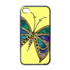 Butterfly Mosaic Yellow Colorful Apple iPhone 4 Case (Black)