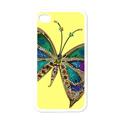 Butterfly Mosaic Yellow Colorful Apple Iphone 4 Case (white)