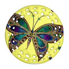 Butterfly Mosaic Yellow Colorful Round Filigree Ornament (2side)