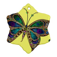 Butterfly Mosaic Yellow Colorful Snowflake Ornament (2 Side)