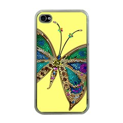 Butterfly Mosaic Yellow Colorful Apple Iphone 4 Case (clear)