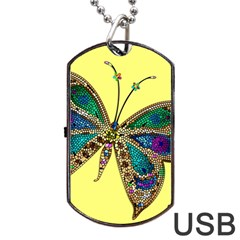 Butterfly Mosaic Yellow Colorful Dog Tag Usb Flash (two Sides)