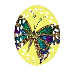 Butterfly Mosaic Yellow Colorful Ornament (oval Filigree)