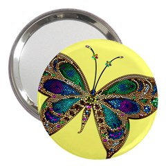 Butterfly Mosaic Yellow Colorful 3  Handbag Mirrors