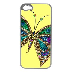 Butterfly Mosaic Yellow Colorful Apple Iphone 5 Case (silver)