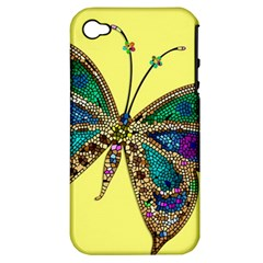 Butterfly Mosaic Yellow Colorful Apple Iphone 4/4s Hardshell Case (pc+silicone)