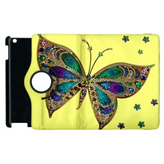 Butterfly Mosaic Yellow Colorful Apple Ipad 3/4 Flip 360 Case