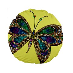 Butterfly Mosaic Yellow Colorful Standard 15  Premium Round Cushions