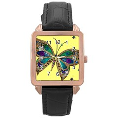 Butterfly Mosaic Yellow Colorful Rose Gold Leather Watch