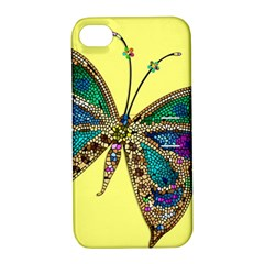Butterfly Mosaic Yellow Colorful Apple Iphone 4/4s Hardshell Case With Stand