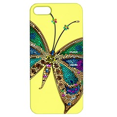 Butterfly Mosaic Yellow Colorful Apple Iphone 5 Hardshell Case With Stand