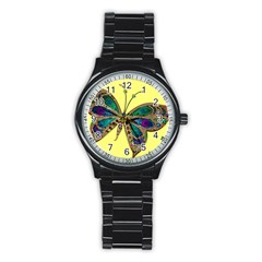 Butterfly Mosaic Yellow Colorful Stainless Steel Round Watch