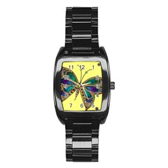 Butterfly Mosaic Yellow Colorful Stainless Steel Barrel Watch