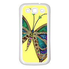 Butterfly Mosaic Yellow Colorful Samsung Galaxy S3 Back Case (white)
