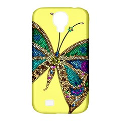 Butterfly Mosaic Yellow Colorful Samsung Galaxy S4 Classic Hardshell Case (pc+silicone)