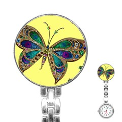 Butterfly Mosaic Yellow Colorful Stainless Steel Nurses Watch
