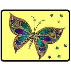 Butterfly Mosaic Yellow Colorful Double Sided Fleece Blanket (large)