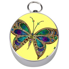 Butterfly Mosaic Yellow Colorful Silver Compasses