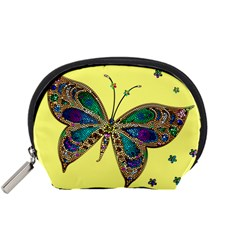 Butterfly Mosaic Yellow Colorful Accessory Pouches (small)