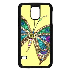 Butterfly Mosaic Yellow Colorful Samsung Galaxy S5 Case (black)