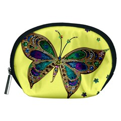 Butterfly Mosaic Yellow Colorful Accessory Pouches (medium)