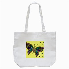 Butterfly Mosaic Yellow Colorful Tote Bag (white)