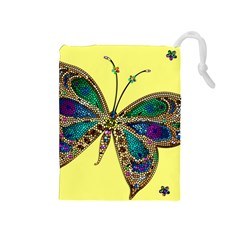 Butterfly Mosaic Yellow Colorful Drawstring Pouches (medium)