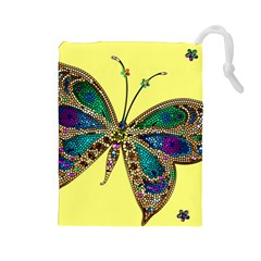 Butterfly Mosaic Yellow Colorful Drawstring Pouches (large)