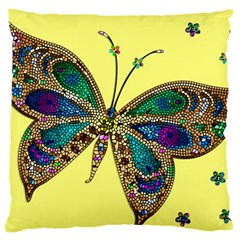 Butterfly Mosaic Yellow Colorful Large Flano Cushion Case (one Side)