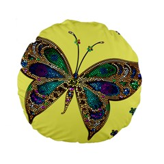 Butterfly Mosaic Yellow Colorful Standard 15  Premium Flano Round Cushions