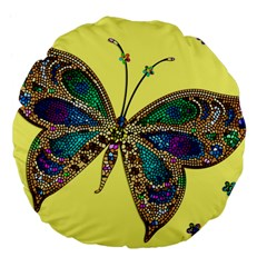 Butterfly Mosaic Yellow Colorful Large 18  Premium Flano Round Cushions