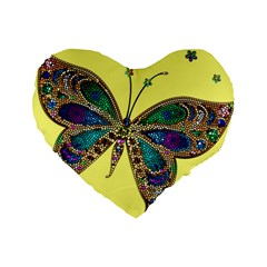 Butterfly Mosaic Yellow Colorful Standard 16  Premium Flano Heart Shape Cushions