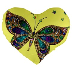 Butterfly Mosaic Yellow Colorful Large 19  Premium Flano Heart Shape Cushions