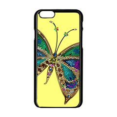 Butterfly Mosaic Yellow Colorful Apple Iphone 6/6s Black Enamel Case