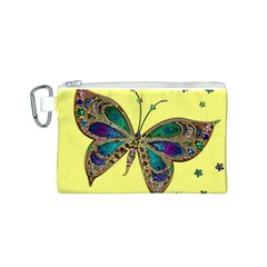 Butterfly Mosaic Yellow Colorful Canvas Cosmetic Bag (s)