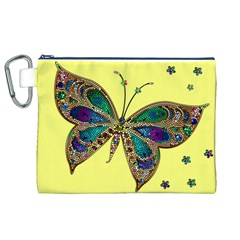 Butterfly Mosaic Yellow Colorful Canvas Cosmetic Bag (xl)