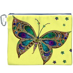 Butterfly Mosaic Yellow Colorful Canvas Cosmetic Bag (xxxl)