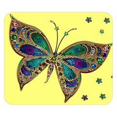 Butterfly Mosaic Yellow Colorful Double Sided Flano Blanket (small)