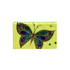 Butterfly Mosaic Yellow Colorful Cosmetic Bag (xs)
