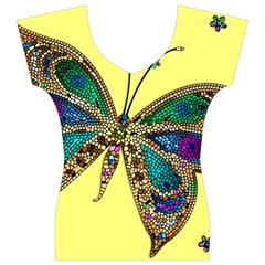 Butterfly Mosaic Yellow Colorful Women s V-Neck Cap Sleeve Top