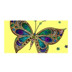 Butterfly Mosaic Yellow Colorful Satin Wrap