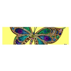 Butterfly Mosaic Yellow Colorful Satin Scarf (oblong)
