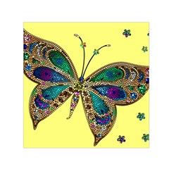 Butterfly Mosaic Yellow Colorful Small Satin Scarf (square)