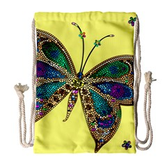 Butterfly Mosaic Yellow Colorful Drawstring Bag (large)